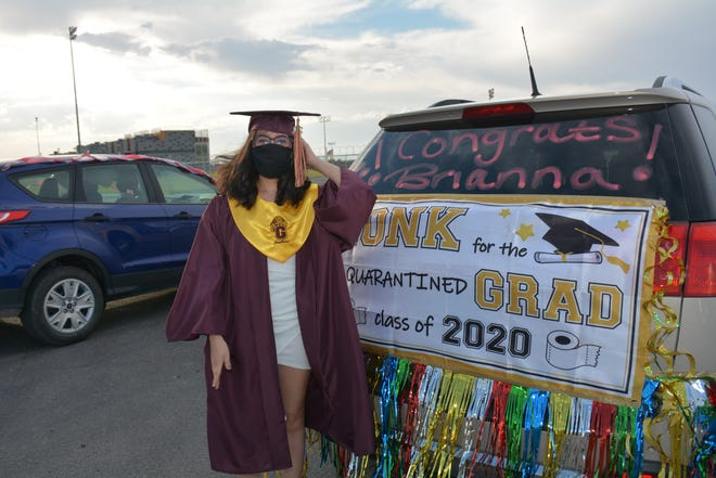 Briana Ramirez's car decoration perhaps summed up the entire evening at Vado Speedway Park where Gadsden ISD's Gadsden High School Class of 2020 graduated after a long delay caused by the pandemic. Several hundred cars full of graduates paraded on the track at Vado Speedway Park on Tuesday, July 14, 2020, to receive their diplomas. Briana will be attending Dona Ana Community College.