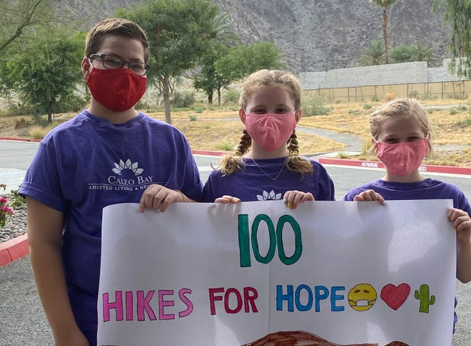 Siblings Jackson, Alexandra and Caroline Kulevich did 100 hikes in 100 days to raise money for Caleo Bay Assisted Living and Memory Care facility in La Quinta.