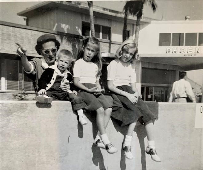 From left: Carol Cogelow, Craig Cogelow, Carol Ayers and Barbara Boettcher at Terminal 1 in 1954.