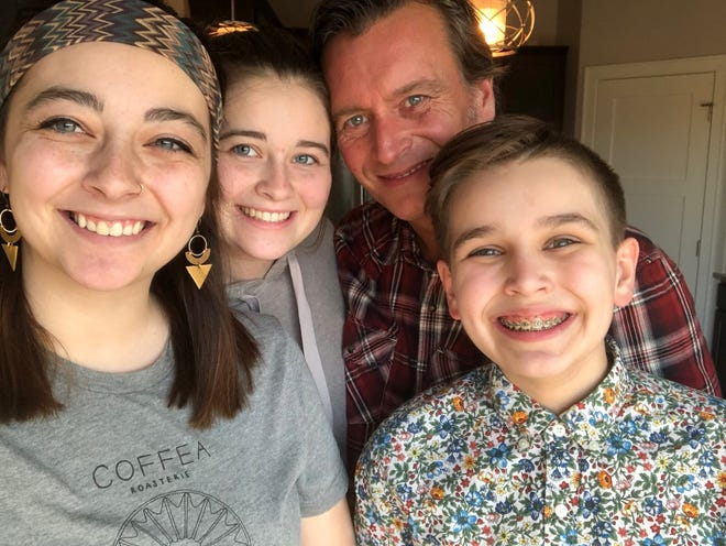 Kaitlin, Lauren and Harrison Olson with their father, Tim Olson, who died in June 2019 after years of struggling with alcohol addiction. The siblings held a fundraiser to raise money for people who can't afford addiction treatment services.
