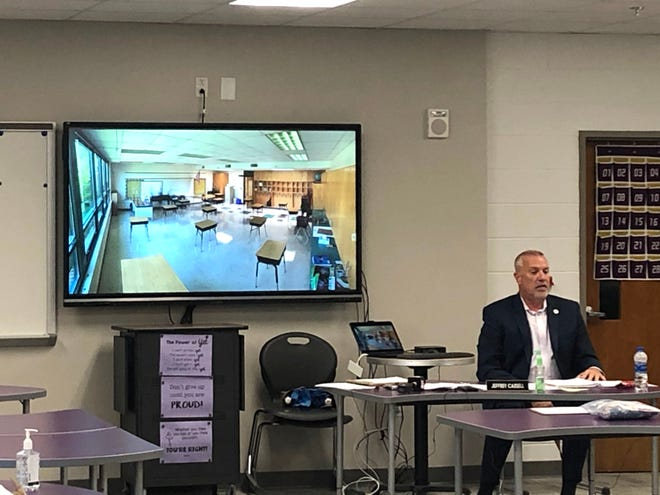 Waynesboro Public Schools superintendent Jeffrey Cassell discusses what rooms might look like for social distancing purposes this coming school year.