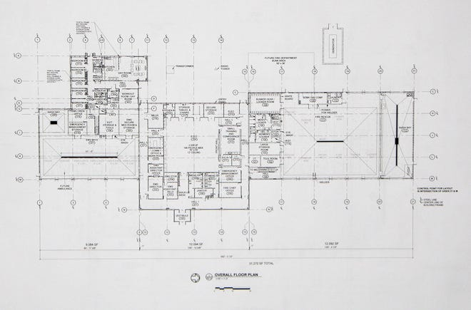 A floor plan from Landmark Architecture shows the layout of the proposed Public Safety Building that will house Pratt County Fire and Rescue, Pratt County EMS, Pratt County Emergency Management plus support offices as well as a large and small conference room and an emergency generator.