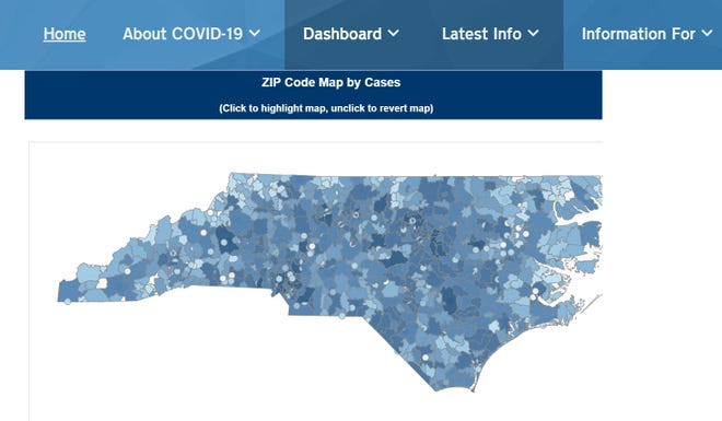 """The North Carolina Department of Health and Human Services does have a feature on its COVID-19 """"dashboard"""" that allows you to track cases by zip code"""