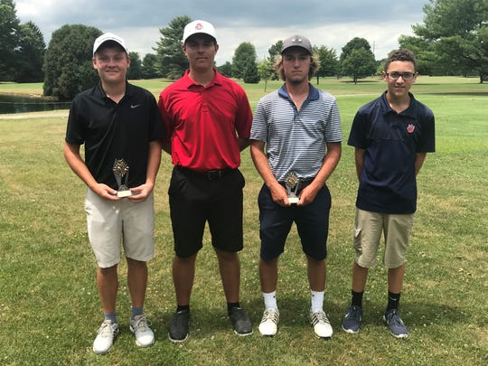 From left Fairbanks' Alexander Crowe won his first HOJGA event of the summer while Pleasant's Mason Rinehart, River Valley's Talon Monticue and Galion's Max Longwell all tied for second.