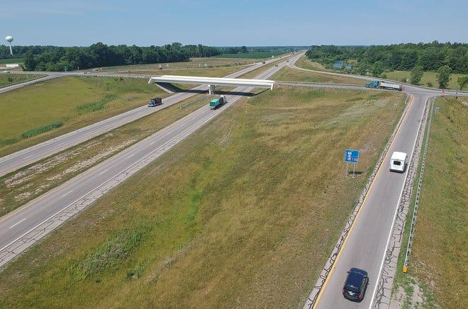 The exit of Ohio 598 at U.S. 30 in Galion.