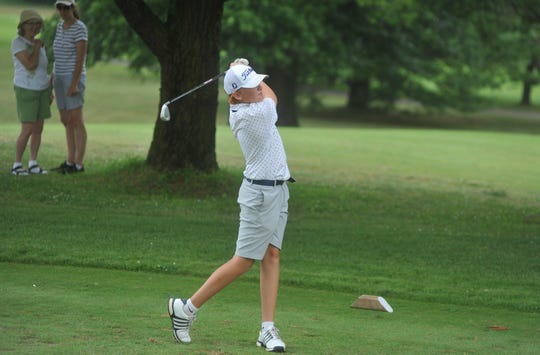 Galion's Logan Keller tees off on the 8th hole in the HOJGA event at Kings Mill Golf Course.