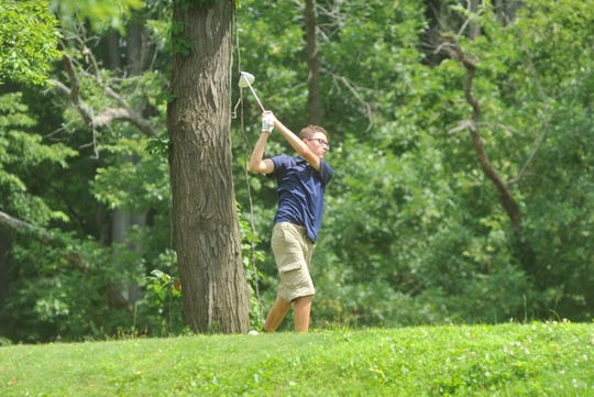 Galion's Max Longwell tees off on the 14th hole in the HOJGA event at Kings Mill Golf Course.