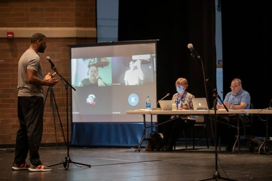 Darryl Moore speaks during the Clear Creek-Amana school board meeting at Clear Creek-Amana High School on Wednesday, July 15, 2020. Moore is a father of a student who experienced racial inequality at Clear Creek-Amana.