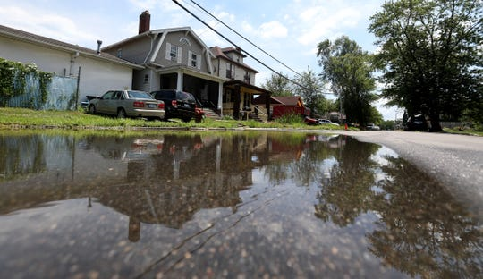 The partially flooded Ashland Street in Detroit, Michigan on July 14, 2020.