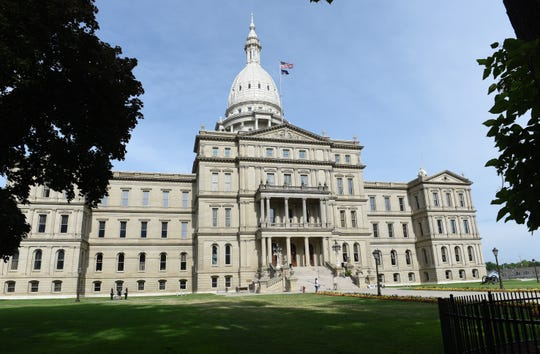Exterior photo of the Michigan State Capitol in Lansing, Wednesday, July 15, 2020.