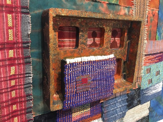 """Detail from """"Kolkata Chronicles"""" by Boisali Biswas, which took first place in """"Uncommon Threads"""" at Detroit's Scarab Club."""