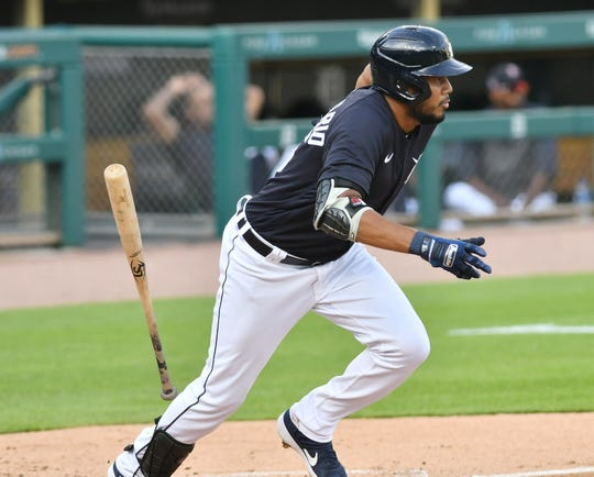 Jeimer Candelario doubles during an intrasquad game at Detroit Tigers Summer Camp at Comerica Park on Wednesday night.