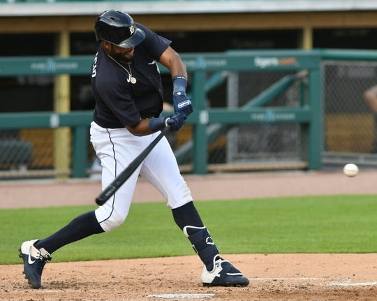 Non-roster invitee Jorge Bonifacio singles with an RBI during an intrasquad game at Detroit Tigers Summer Camp at Comerica Park on July 15, 2020.