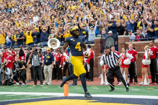 Michigan wide receiver Nico Collins runs into the end zone for a touchdown on a 48-yard pass against Rutgers in 2019.