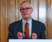 Britain's Chief Scientific advisor Patrick Vallance, talks during a press conference in this March 18, 2020, file photo. Vallance acknowledged there were failings in the U.K.'s response to the coronavirus pandemic, and said some decisions will turn out to have been wrong.