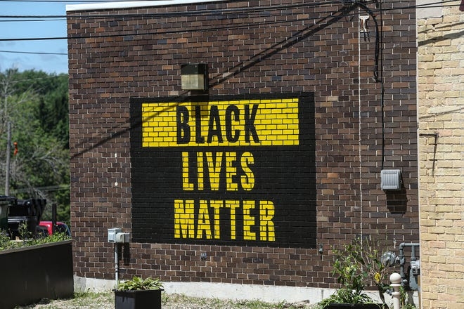 """A """"Black Lives Matter"""" mural sits on the side of a business Thursday, July 16 at 114 Watson St., in Ripon."""