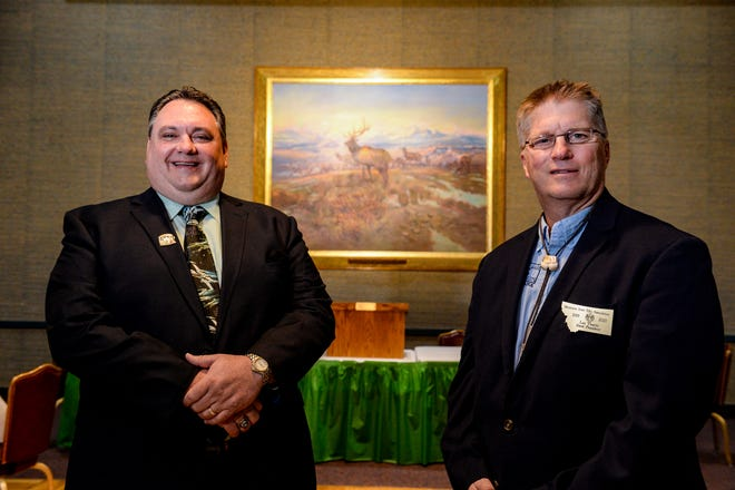 Paul Ryan, left, the grand exalted ruler of the Elks Association, and Les Thario, president of the Montana State Elks Association, are preparing to host the state convention at the Lodge 214 in Great Falls July 17 & 18.