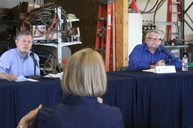 Montana Senator Steve Daines (right) and USDA Under Secretary Bill Northy listen to a question from Montana Grain Growers Association Executive Vice President Lola Raska at last weeks agriculture roundtable