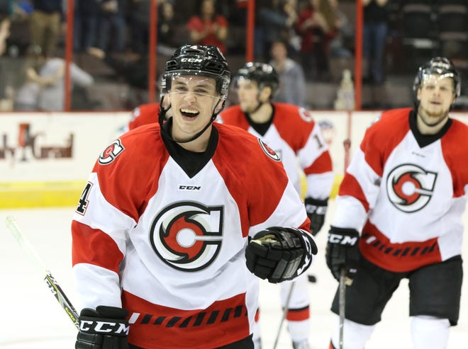 Kurt Gosselin of Brighton had 6 goals and 12 assists in 47 games as a defenseman with the Cincinnati Cyclones of the ECHL in 2019-20.