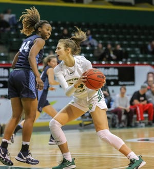 Erin Honkala of Howell averaged 8.3 points and 6.9 rebounds as a senior at Northern Michigan University in 2019-20.
