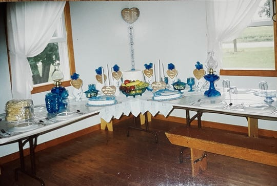 Tables at Lovina and Joe's wedding 27 years ago.