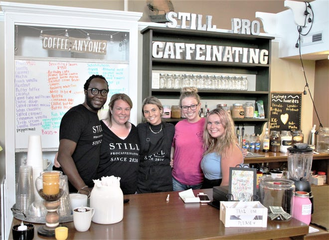 Still Procaffeinating LLC is a new coffee shop co-located with the Candy Shack Cafe at Charleston Place in downtown Marion. Pictured from left are shop owners KD and Lyndsi Ahossin, employee Gabby Murray, Candy Shack Cafe employee Hannah Hashman, and coffee shop employee Kiersten Dailey. It has temporarily closed because of the COVID-19 pandemic.