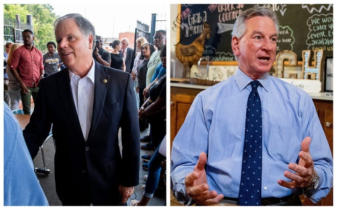 Incumbent Democratic U.S. Sen. Doug Jones, left, will face off against Republican candidate Tommy Tuberville in the November election.