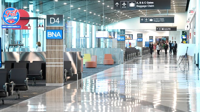 Nashville International Airport unveiled its new concourse D in Nashville, Tenn. on Thursday, July 16, 2020. The 115,000 square foot state-of-the-art facility is a major component of the BNA Vision, the airport's dynamic expansion and renovation plan.