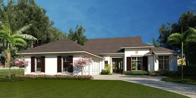 The single story 3,240 square-foot Haven floorplan at The Enclave of Distinction features three bedrooms and bathrooms, plus another half-bath and an office.
