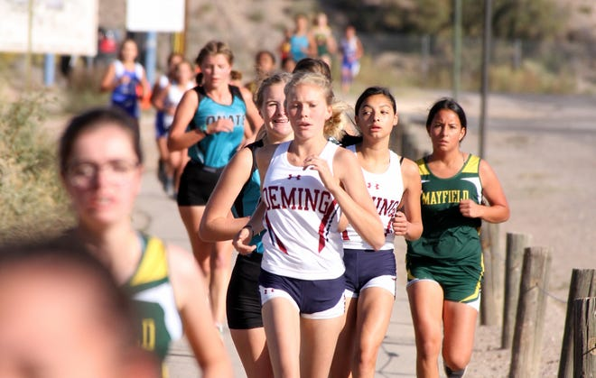 Lady 'Cat Alexis Walker (in white, in front) could be anticipating a September 14th start for the competitive cross country running season at Deming High School.