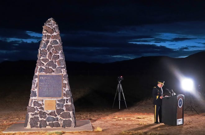 WSMR Commander Brig. Gen. David Trybula gives the keynote address during a small ceremony to commemorate the 75th Anniversary of Trinity Site July 16. The ceremony featured the illumination of the Obelisk that marks Ground Zero.