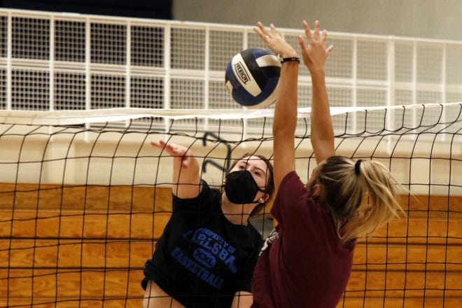 The Carlsbad Cavegirls volleyball team practices on July 16, 2020. On Feb. 22 the Cavegirls will be allowed to resume normal practices without requiring PODS.