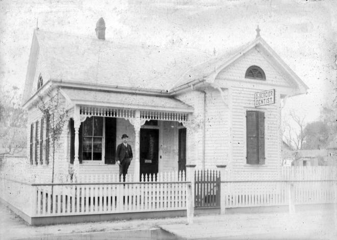 Dr. A. J. Bercier on the porch of his new office on the corner of Vine and Court streets in downtown Opelousas in 1903.