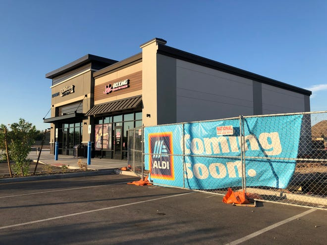 A long-awaited Aldi grocery store is under construction at the southeast corner of Lake Pleasant Parkway and Happy Valley Road as part of Peoria's new Sunrise Promenade shopping center.