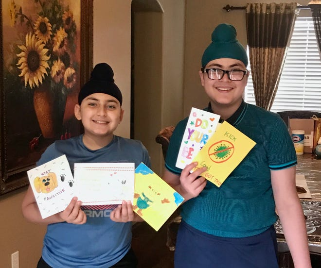Pravneet Chadha, 12, and his brother, Hurshneet Chadha, 15, have made and delivered 1,000 get-well cards to hospitalized COVID-19 patients.