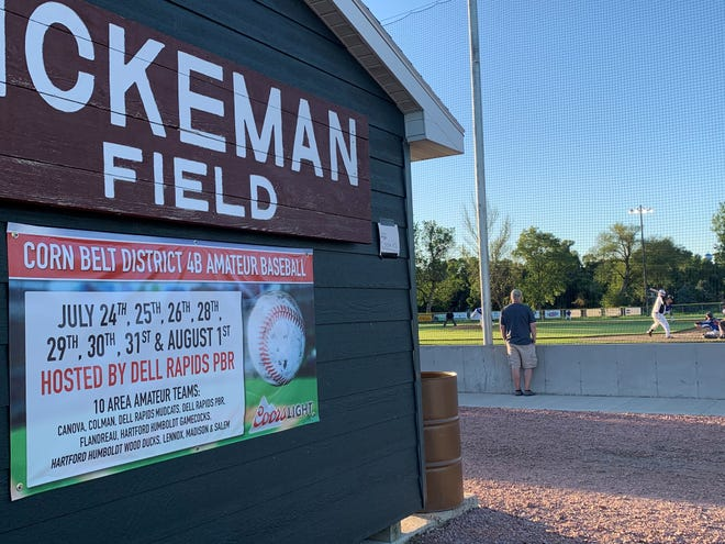 Signage at Rickeman Field promotes the upcoming District 4B tournament on Tuesday, July 14.