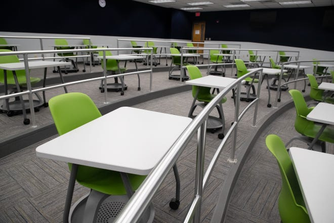 Desks in Tallahassee Community College lecture halls have been replaced to allow for proper cleaning and sanitization and have also been configured to allow for proper spacing between students.