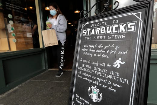 Starbucks required customers wear face masks starting July 15