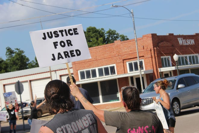 A group of around 70 people gathered in Wilson Friday afternoon to honor Jared Lakey, who died after reportedly being tased for more than 50 times by two Wilson police officers. Protestors also called for action to end police brutality.