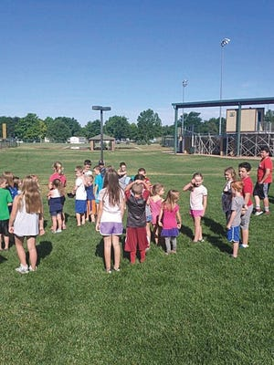Children play Simon Says during a Monday Pratt Recration activity at the Green Sports Complex. Pratt-area children aged 5-fifth grade are welcome to join the adult-supervised fun summer activities.