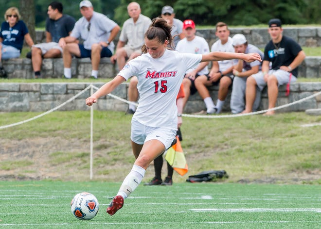 Marist women's soccer, with Nicole Sasso pictured in 2019, will play a conference-only schedule in 2020 if a fall season is approved. MARIST ATHLETICS/photo provided