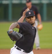 Detroit Tigers' Gregory Soto pitches during intrasquad action Thursday, July 16, 2020 at Comerica Park in Detroit.