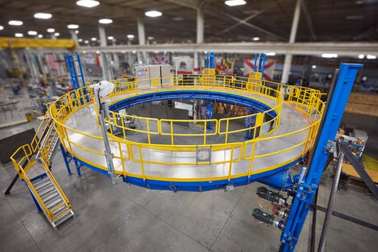 This SLS Manlift Elevator, which does weld inspections, was built for NASA in Ascent Aerospace's facility in Macomb Township.