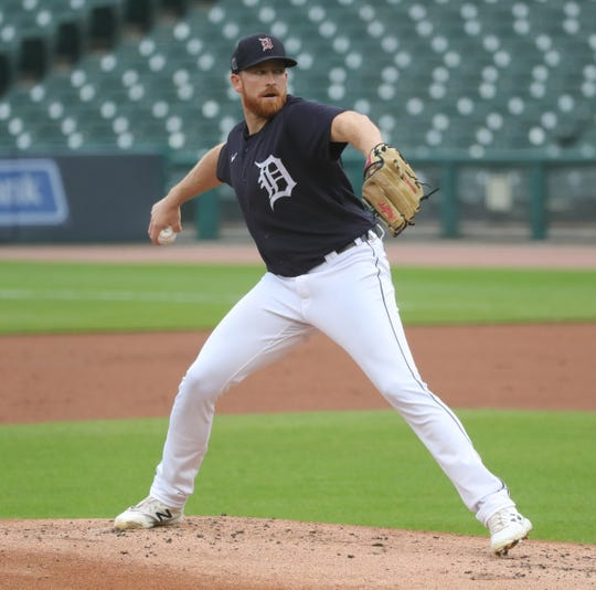 Detroit Tigers' Spencer Turnbull pitches during intrasquad action Thursday, July 16, 2020 at Comerica Park in Detroit.