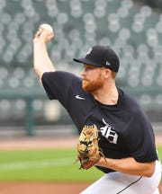 Tigers pitcher Spencer Turnbull works on the mound during an intrasquad game at Detroit Tigers Summer Camp at Comerica Park in Detroit on July 16, 2020.
