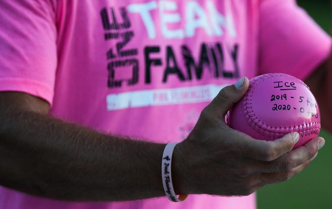 The amount of ice used at the Pink Flaming Classic in 2020, when the slow-pitch softball tournament was canceled due to the pandemic, is recorded on a pink softball next to the amount used in 2019. .