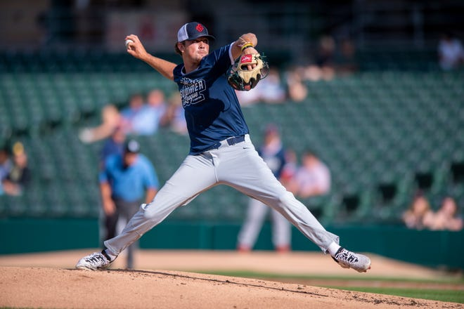All Star Blue pitcher Bradley Brehmer (31), of Wright state, delivers a pitch. College baseball players from major conferences across the Midwest participated in a series of all-star games in the Grand Park College Summer League beginning Thursday, July 16, 2020, at Victory Field in Indianapolis.