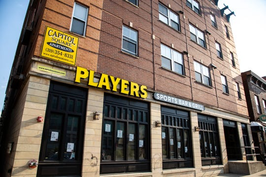 Players Sports Bar & Grill is seen, Tuesday, July 7, 2020, along Iowa Avenue in Iowa City, Iowa.
