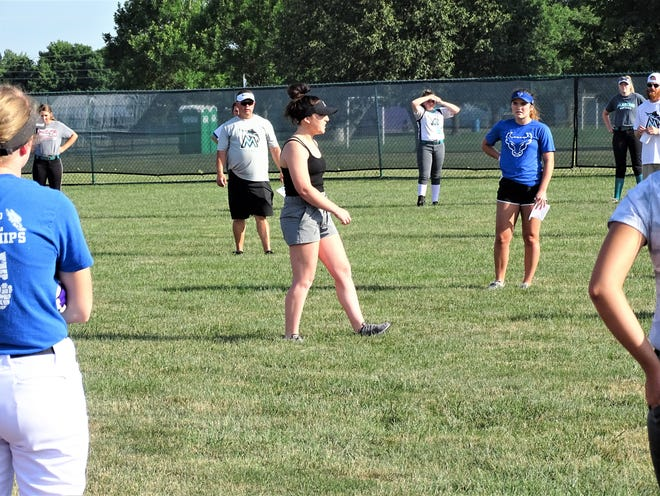 Former Lancaster softball standout, Madison Arent, held a softball clinic Wednesday at Pickerington Central High School. Over 50 girls attended.