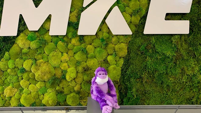 Someone left a purple monkey at Milwaukee Mitchell International Airport in March.